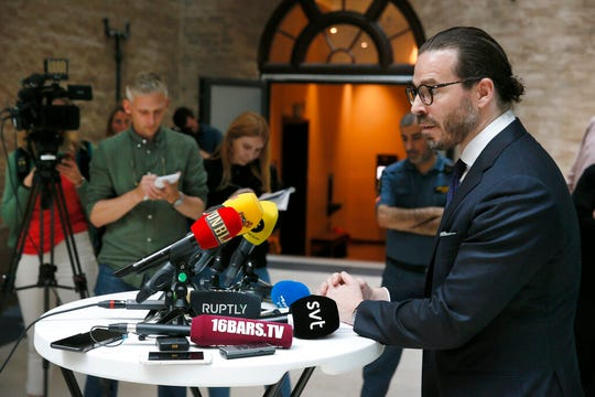 Slobodan Jovicic, lawyer for rapper A$AP Rocky, talks to the media after the arrest court proceedings in Stockholm, Friday, July 19, 2019. A Swedish prosecutor wants U.S. rapper A$AP Rocky held for another week in pre-trial detention to allow police to finish investigating a June 30 fight in Stockholm.