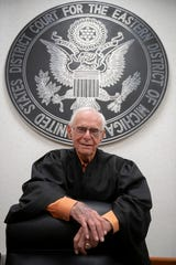 Avern Cohn is seen in his courtroom at the Theodore Levin United States Courthouse in July.