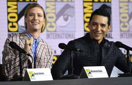 "Mackenzie Davis, left, and Gabriel Luna participate in the ""Terminator: Dark Fate"" panel."
