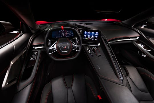 A square steering wheel makes it easier to see the huge, 12-inch instrument display.