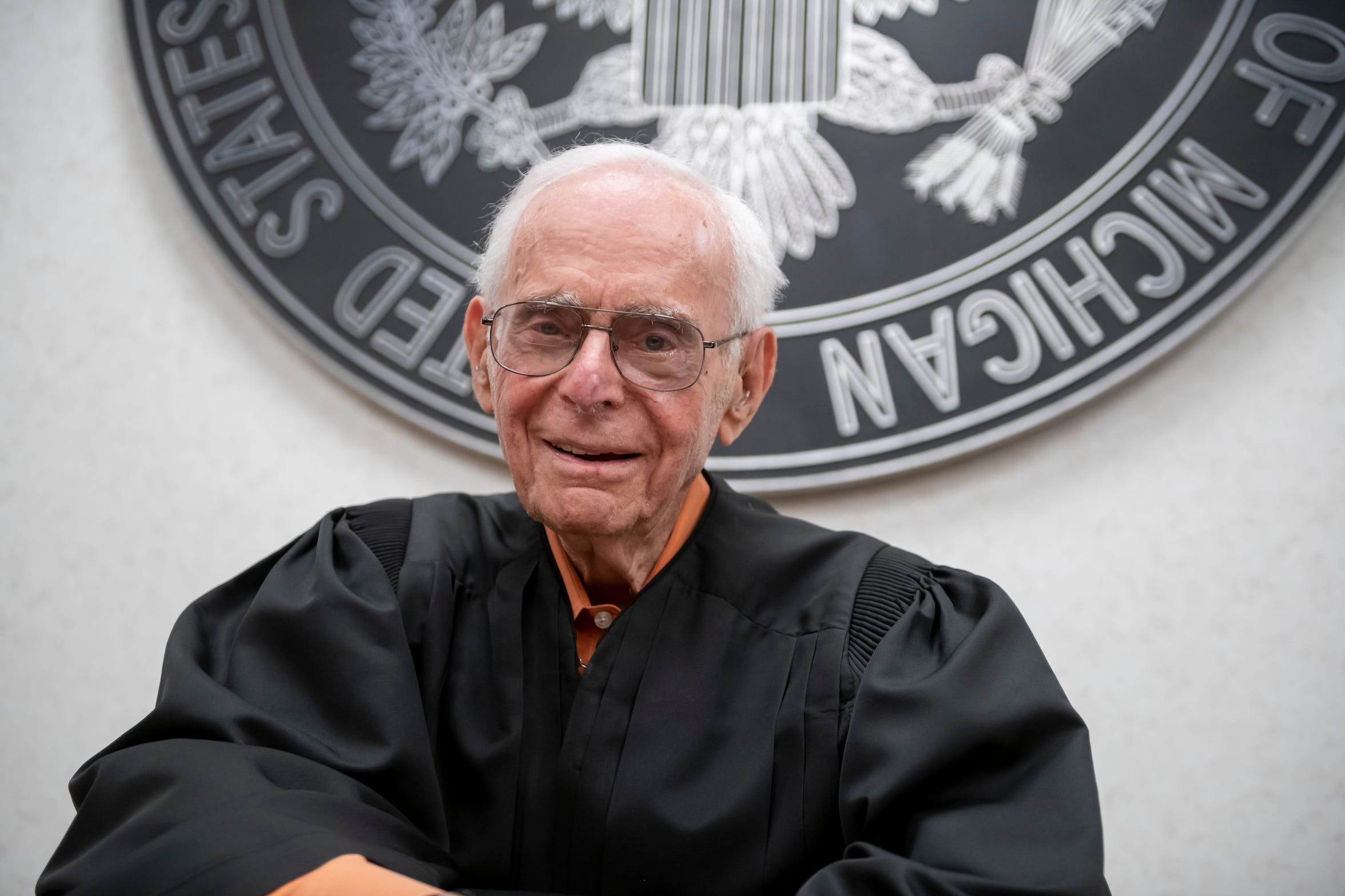 Avern Cohn, Senior United States District Judge of the United States District Court for the Eastern District of Michigan, talks in his courtroom at the Theodore Levin United States Courthouse.