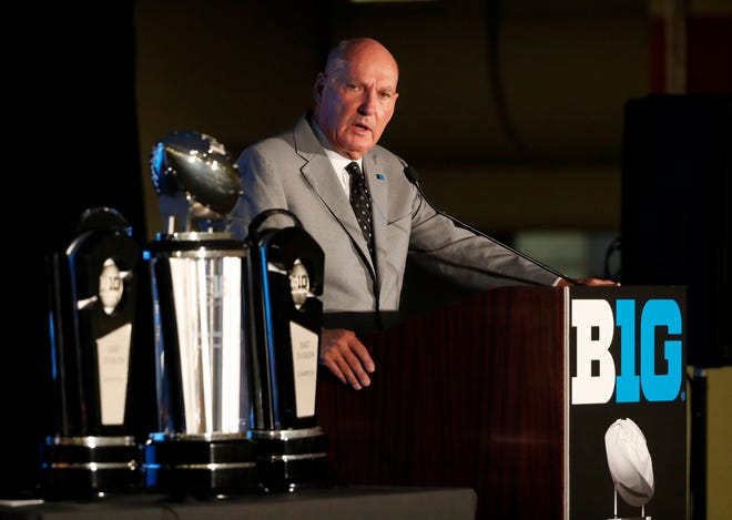 Big Ten Commissioner Jim Delany responds to a question during Big Ten media days on Thursday in Chicago.