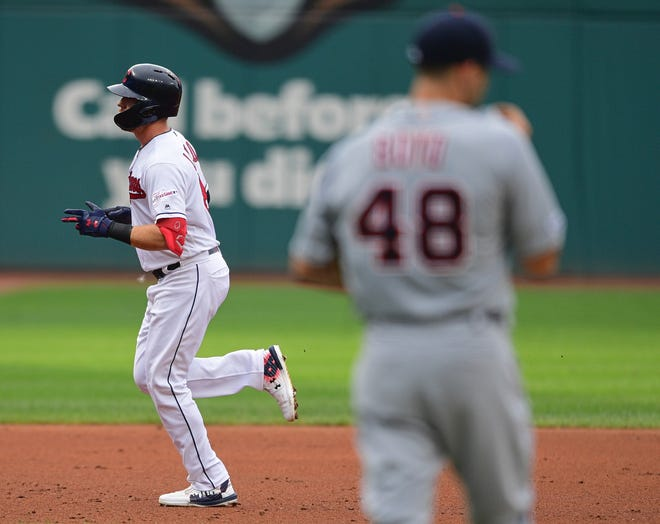 Cleveland's Jordan Luplow runs the bases after hitting a two-run home run off Tigers starter Matthew Boyd, who gave up two homers in Thursday's 6-3 loss.