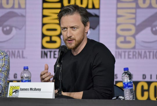 "James McAvoy speaks at the ""His Dark Materials"" panel on day one of Comic-Con International on Thursday, July 18, 2019, in San Diego. (Photo by Richard Shotwell/Invision/AP)"