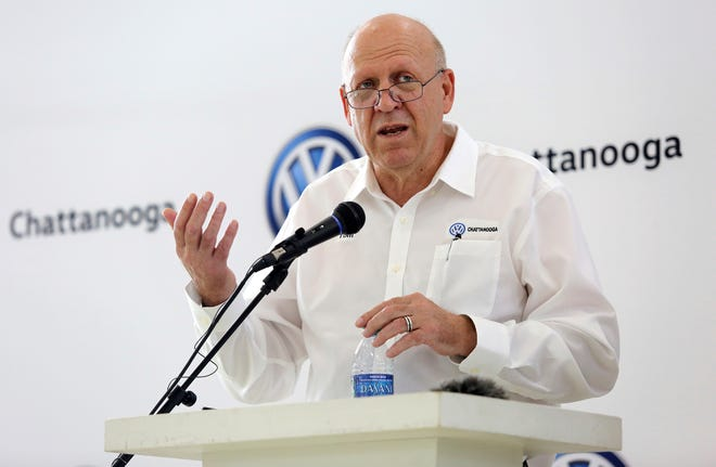 New Volkswagen Chattanooga CEO Tom du Plessis speaks during a news conference at Volkswagen Academy, Thursday, July 18, 2019, in Chattanooga, Tenn.