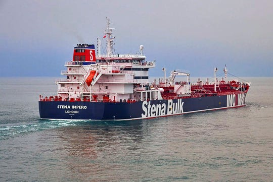 British oil tanker Stena Impero at unknown location, which is believed to have been captured by Iran.