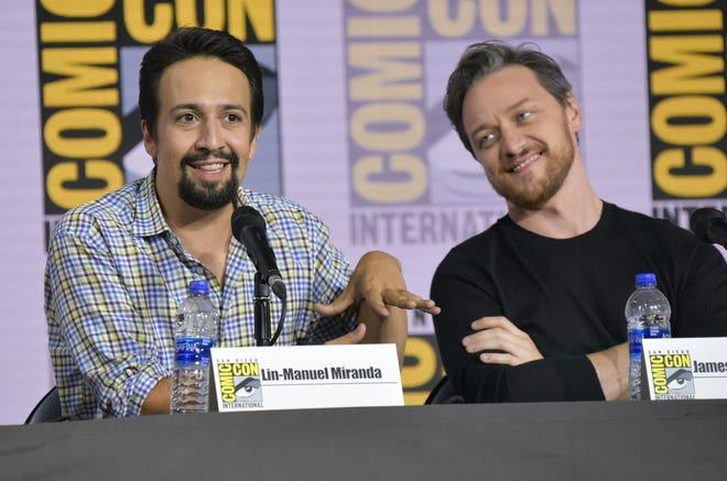 """Lin-Manuel Miranda, left, and James McAvoy participate in the """"His Dark Materials"""" panel on day one of Comic-Con International on Thursday, July 18, 2019, in San Diego. (Photo by Richard Shotwell/Invision/AP)"""