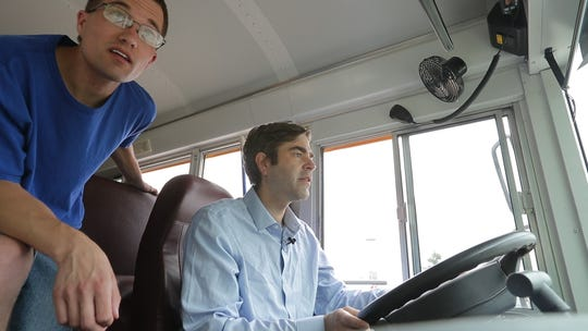 Reporter Jeff Bollier tries his hand at driving a school bus at Lamers Bus Lines in Green Bay. The company is looking to hire nearly 100 drives in advance of the new school year.