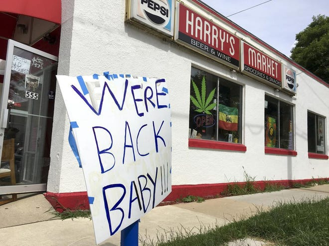 """A self-styled Rastafarian church in Downtown Madison, Wis., has reopened, but without the prior acceptance of """"donations"""" from church members in exchange for dispensations of what was regarded as marijuana """"sacrament,"""" on West Mifflin Street in Madison, Wis., Wednesday, July 17, 2019."""