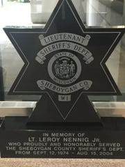 This is the memorial currently located in the sheriff's department for fallen officer Lt. LeRoy Nennig Jr.