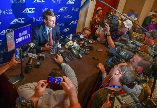 Clemson Head Coach Dabo Swinney speaks with media during ACC Media Football Kickoff at the Westin Charlotte Wednesday.