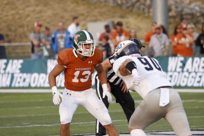 Montana Tech safety Justin May (13) is expected to be a team leader this fall for the Orediggers.