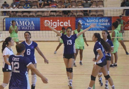 The Guam women's volleyball team finished the Pacific Games on a winning note, defeating the Solomon Islands 3-1 July 19 at the National University of Samoa.