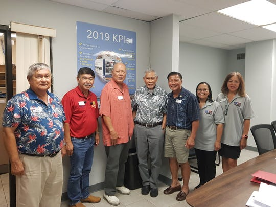 "Members of the National Organization of Chamorro Veterans in America pose for a photo at the Pacific Daily News office on July 19, 2019. From left: John Salas, Roland Taitano, Roland ""RC"" Combado, Celestin Aguigui, Roy Leon Guerrero, Norma Jeter and Lou Barrett."