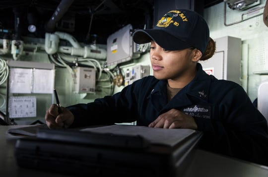 Quartermaster Second Class Josephine Sablan, from Yigo, Guam, records the ship's position on the bridge of the amphibious transport dock ship USS Green Bay (LPD 20). Green Bay, part of the Wasp Expeditionary Strike Group, with embarked 31st Marine Expeditionary Unit, is currently participating in Talisman Sabre 2019 off the coast of Northern Australia. A bilateral, biennial event Talisman Sabre is designed to improve U.S. and Australian combat training, readiness and interoperability through realistic, relevant training necessary to maintain regional security, peace and stability.