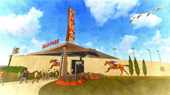 The artist rendering shows the south entry to the planned new Historical Horse Racing facility, which is part of the  $55 million renovation and expansion planned by Ellis Entertainment, the new owners of Ellis Park.