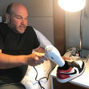 After being caught in a torrential downpour during a visit to Walden Pond, Josh Jenkins is reduced to drying his sneakers with a hotel hairdryer.