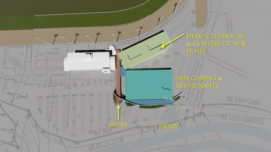 Ellis Entertainment's initial expansion plans call for the construction of the Historial Horse Racing facility, which be approximately 75,000 square feet with the addition of up to 900 gaming machines along with three restaurants and a live entertainment venue. The long-term plans also include the construction of a hotel where the current clubhouse is located.