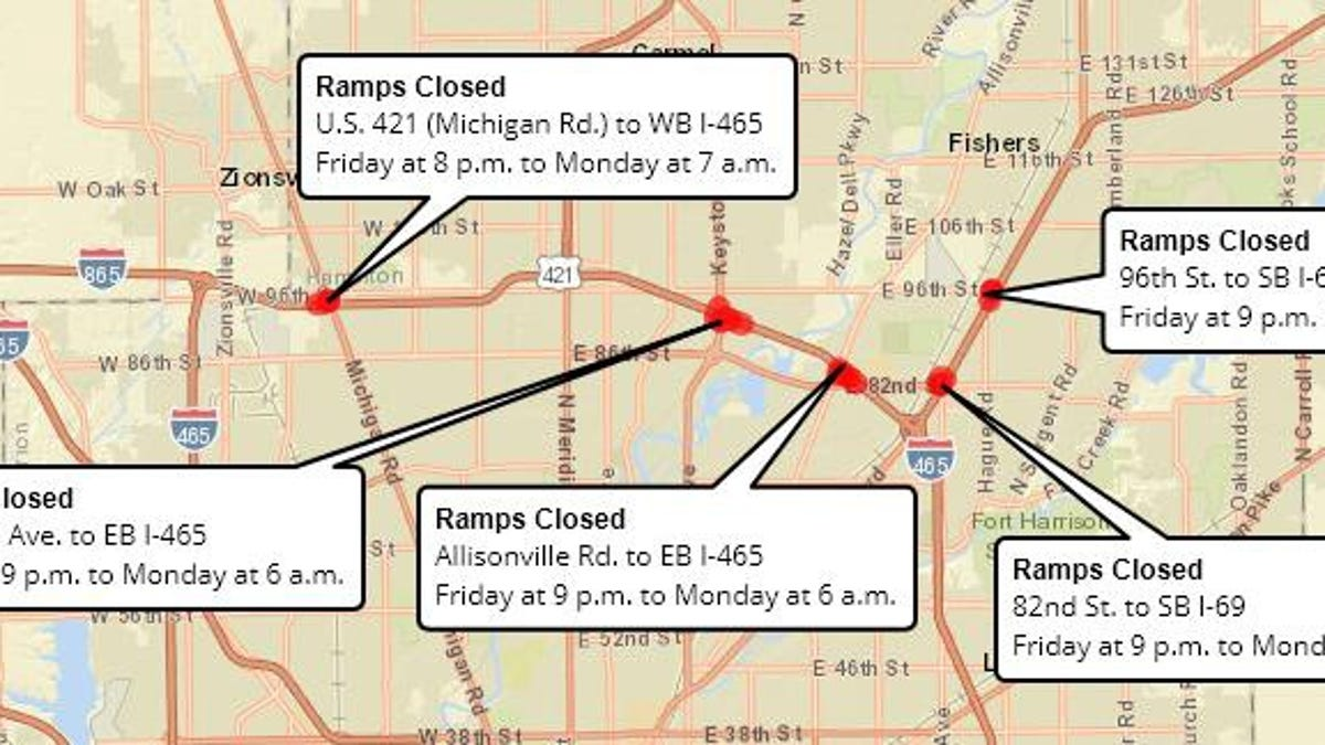 Indianapolis traffic: I-465, I-69 ramps closing for the weekend on heartland map, hobbs map, us route 84 map, us route 20 map, highway map, delco map,