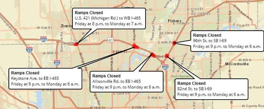 Construction crews will be closing access ramps on I-465 and I-69 this weekend.