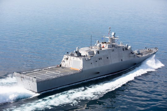 LCS 17, the future USS Indianapolis, during Acceptance Trials in Lake Michigan on June 19, 2019.