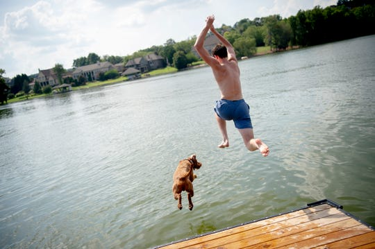 Ethan Fulford leaps from a dock into Lake Loudoun with his one-year-old pup Loki at Carl Cowan Park in Knoxville, Tennessee on Friday, July 19, 2019. Temperatures in the Knoxville area hit the upper 90's.