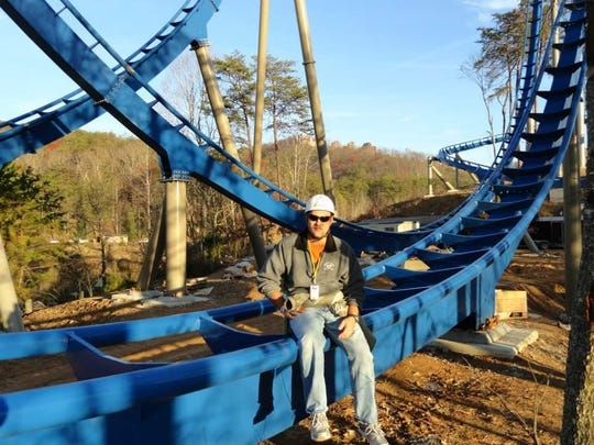Charlie Austin on a construction tour of the Wild Eagle roller coaster at Dollywood, 2012.