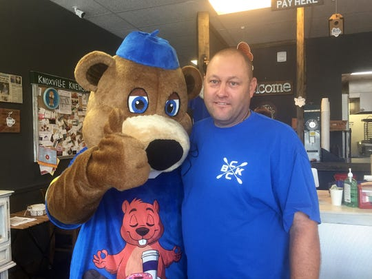 Charlie Austin with DJ the dancing the beaver at Beaver's Dough Jo Saturday, July 13, 2019.