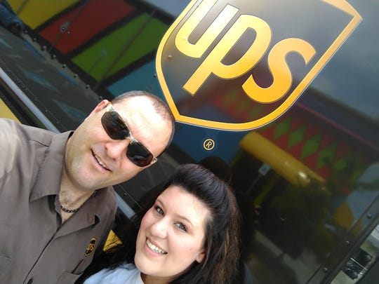 Charlie Austin on the job at UPS May 10 when daughter, Lexie, visits in Pigeon Forge.