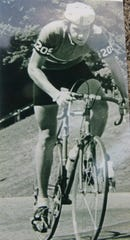 Howard Horn races in a 1975 national road race in Milwaukee.