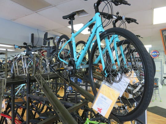 A handsome light blue bike waits to be bought by the right buyer at Cedar Bluff Cycles.