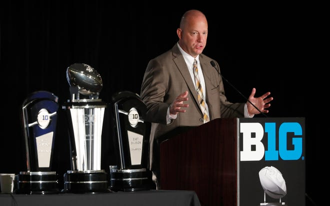 Purdue head coach Jeff Brohm responds to a question during the Big Ten Conference NCAA college football media days Friday, July 19, 2019, in Chicago. (AP Photo/Charles Rex Arbogast)