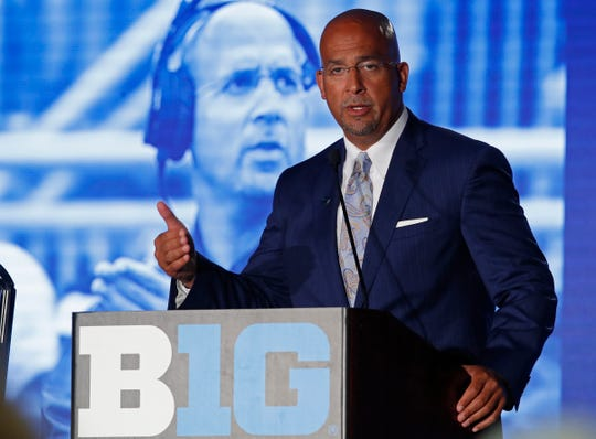 Jul 19, 2019; Chicago, IL, USA; Penn State Nittany Lions head coach James Franklin speaks during the Big Ten Football Media Days event at Hilton Chicago. Mandatory Credit: Jim Young-USA TODAY Sports