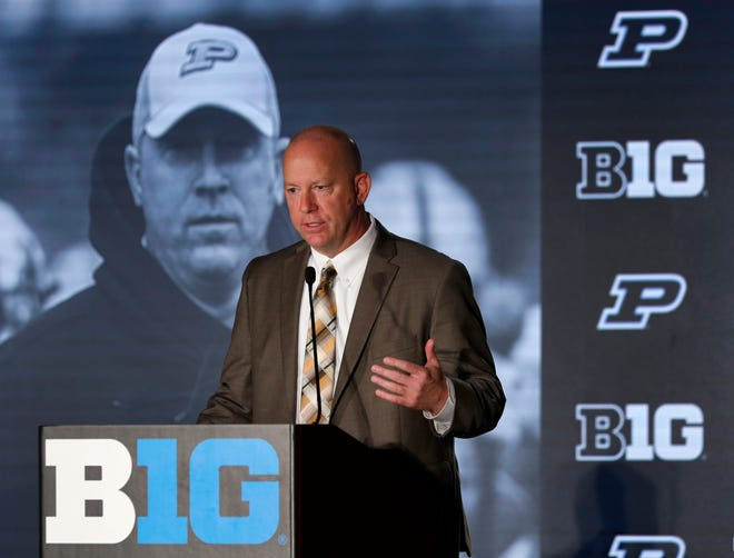 Purdue head coach Jeff Brohm responded to a question Friday during the Big Ten Conference NCAA college football media day.