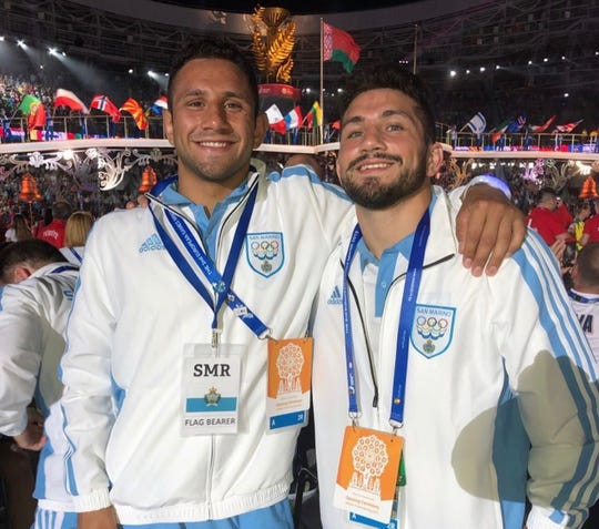 Brighton's Myles (left) and Malik Amine have wrestled twice in Europe for San Marino, a nation contained within the boundaries of Italy.