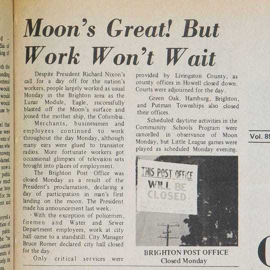 President Richard Nixon told the nation's workers to take work off the Monday following the 1969 Apollo 11 moon landing, but many businesses stayed open, according to this July 23, 1969 front page story in The Brighton Argus.