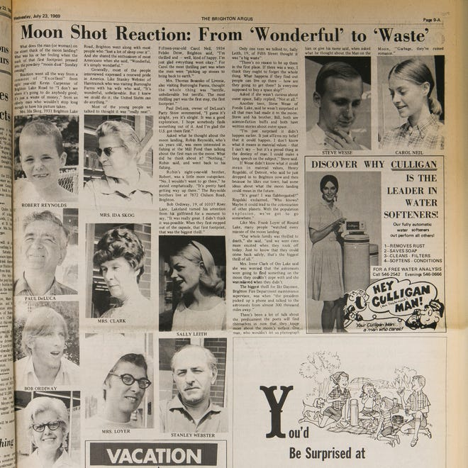 The Brighton Argus asked people in Livingston County what they thought of the 1969 Apollo 11 moon landing for this story, published July 23, 1969.