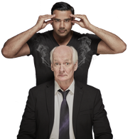 Comedian Colin Mochrie (front) and master hypnotist Asad Mecci