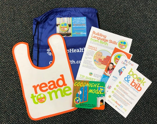 The Book & Bib program focuses on early childhood literacy by providing reading materials and information to parents of newborns at OhioHealth Marion General Hospital. The program gives parents a gift bag that includes a book, bib, and information about early childhood literacy and hot to obtain a My First Library Card from Marion Public Library.