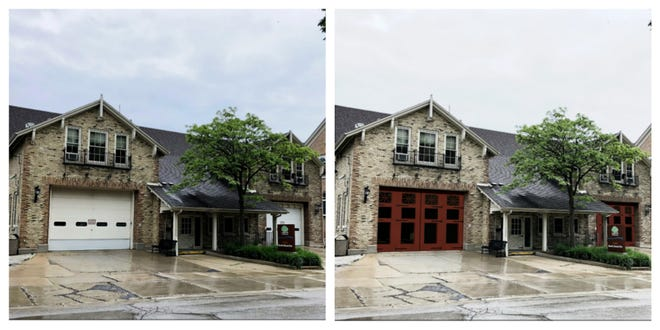 The white solid doors of the Shorewood fire station would be replaced with red doors with larger windows under a proposed renovation plan.