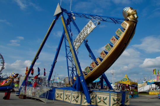 The Pharaoh's Fury is one of the tallest rides at the fair. The boat-like structure swings back and forth from where it is mounted.
