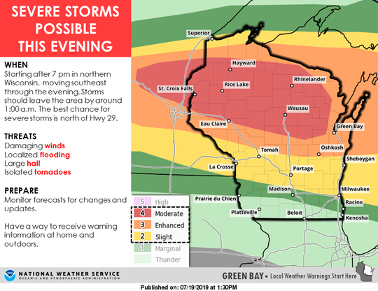 Much of Wisconsin is under a risk for severe thunderstorms on Friday, with the greatest risk in northern and central Wisconsin.