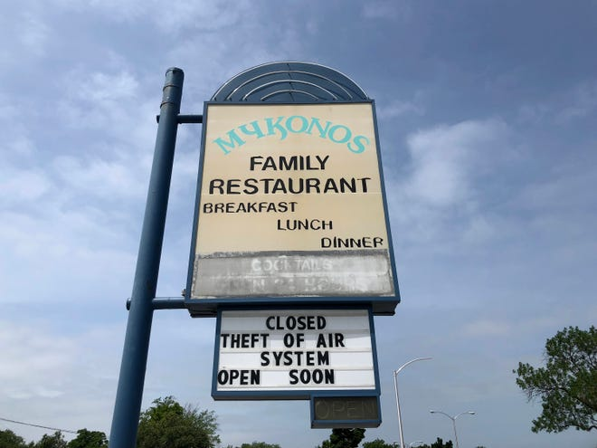 Mykonos Family Restaurant is closed temporarily after thieves took copper and pipes from the restaurant's air conditioning units, rendering the units useless and the establishment sweltering. The theft occurred last Thursday, July 11, 2019.