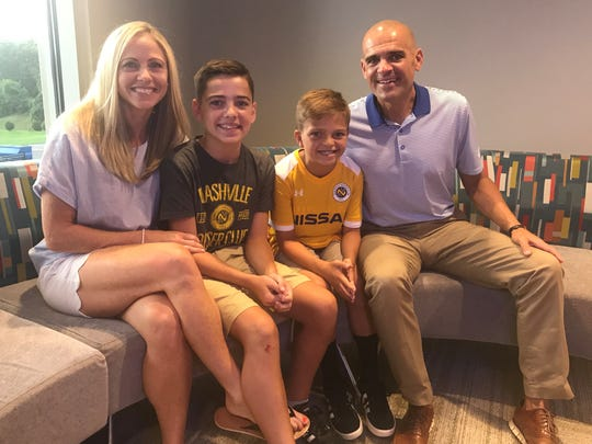 Colby Hitchcock, 10, of Hendersonville had his wish granted on Thursday through Make-A-Wish Middle Tennessee. He'll get to meet his soccer idol Lionel Messi. From left, are mom Becca Hitchcock, brother Brody Hitchcock, Colby Hitchcock and dad Jason Hitchcock.