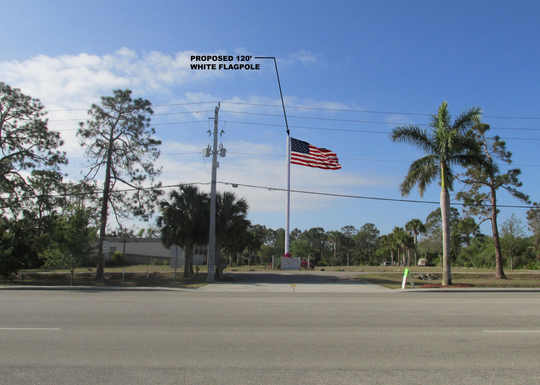 In this rendering submitted to the city of Bonita Springs, a proposed cell phone tower that would double as a flag pole is seen on the Imperial Parkway property where it would be built.