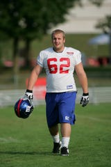 Mitch Petrus of the Giants at the third day of training camp entering the 2010 season. The camp is at the University of Albany campus in Albany, NY on Aug. 3, 2010.