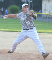 Lyndhurst pitcher Joe Cutola firing a pitch against Rutherford in a Bergen American Legion contest.