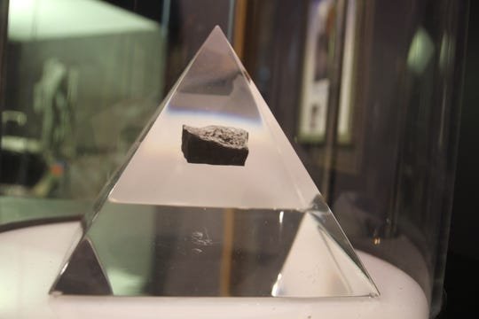 A volcanic rock collected from the surface of the Moon during the Apollo 17 mission is part of the collection of the New Mexico Museum of Space History in Alamogordo, New Mexico.