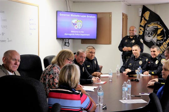 New Mexico Governor Michelle Lujan Grisham visited with Alamogordo Police Department and Alamogordo Mayor Richard Boss on July 18.