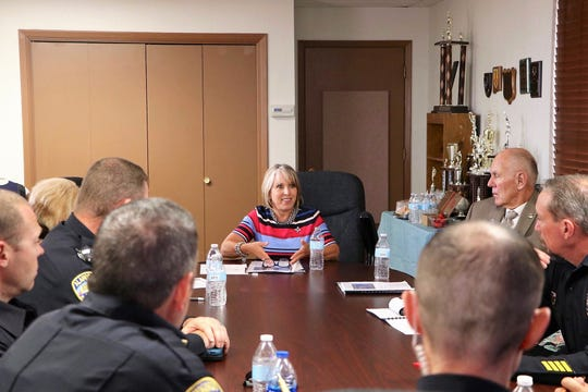 Gov. Michelle Lujan Grisham visited the Alamogordo Police Department Thursday, July 18.  Alamogordo Mayor Richard Boss was also in attendance.